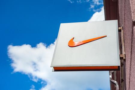 Minsk, Belarus, june 16, 2017: Nike logo on a facade of a store.