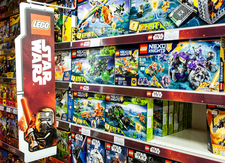 Minsk, Belarus, July 7, 2018: Lego Toys For Sale On Supermarket Shelf. Lego is a line of plastic construction toys that are manufactured by The Lego Group company in Denmark.