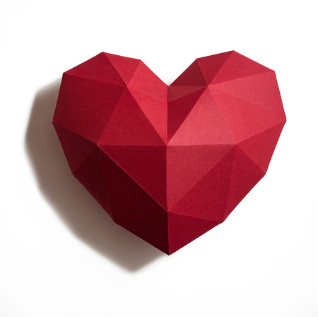 Paper hearth with shadow. Red polygonal paper heart for Valentines day or any other Love invitation cards.