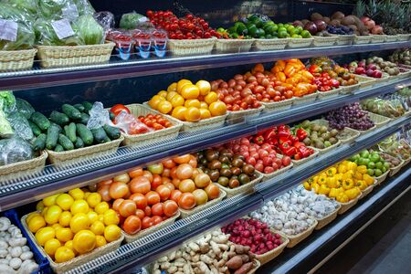 Fresh organic Vegetables and fruits on shelf in supermarket, farmers market. Healthy food concept. Vitamins and minerals. Stok Fotoğraf