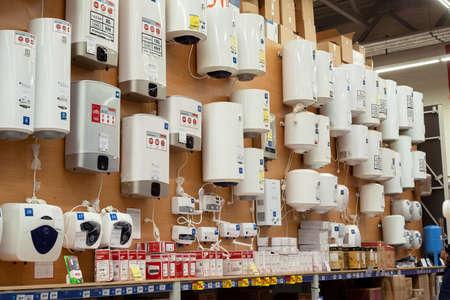 MINSK, BELARUS - May 16, 2020: Water heating boilers choice, plumbering store. Sale of water heaters