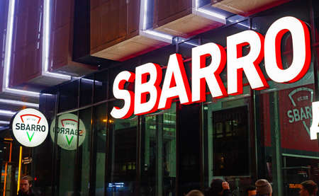 Sbarro restaurant sign on the building. Sbarro is a chain of pizza restaurants that specializes in Italian-American cuisine. Minsk, Belarus, January 18, 2018