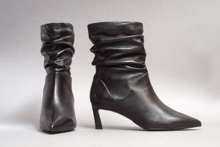 Women's boots with folds on the shaft, the effect of folded leather.