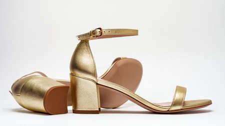Beautiful elegant open summer sandals on white background. Summer shoes 版權商用圖片