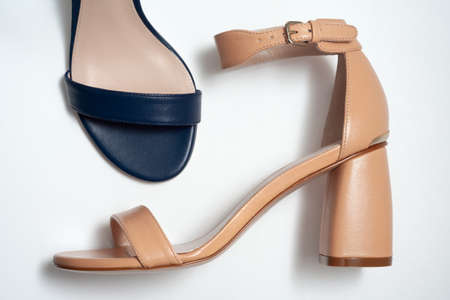 Women's sandals in different colors from different angles