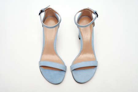 Women's blue sandals top view. Summer footwear.