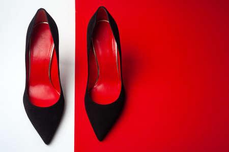 Women's shoes top view. Copy space text. Zdjęcie Seryjne