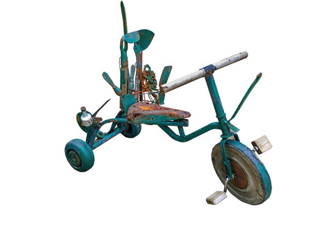 metalized: Children Tricycles old green rust