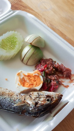 Fried mackerel with shrimp paste sauce photo