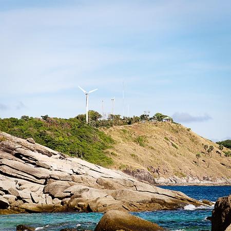 phrom: Phrom Thep Cape Lookout wind turbines. Stock Photo