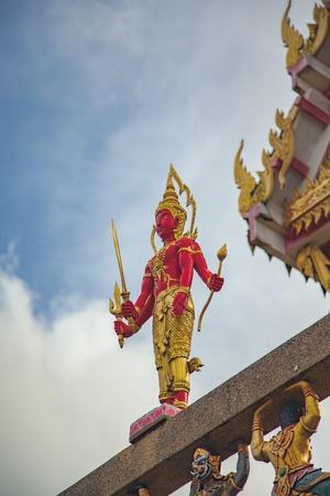 vishnu: Hindu God Vishnu Wat Kao Rang  Phuket Thailand Stock Photo