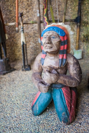 plains indian: Carved wooden dolls Indians Stock Photo
