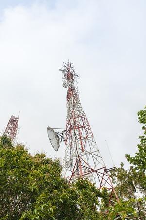 antennas: Telecommunication tower with antennas on toh-sae- mountain phuket Stock Photo