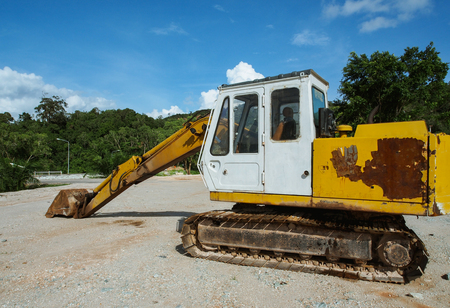heavy industry: Excavator heavy vehicle used in construction industry Stock Photo