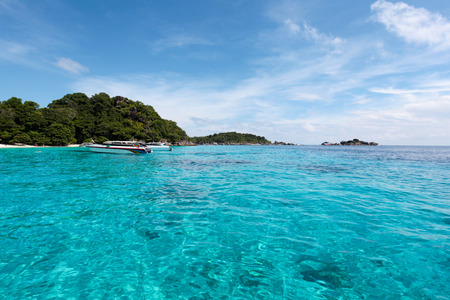 clear waters: Beautiful tropical beach ,Similan Islands or nine Similan Islands consists of nine small islands in the Andaman Sea. With clear waters ideal for diving tourism, Thailand. Stock Photo