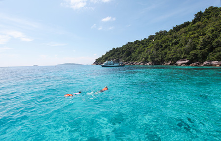 clear waters: Beautiful Similan Islands or nine Similan Islands consists of nine small islands in the Andaman Sea. With clear waters ideal for diving tourism, Thailand. Stock Photo