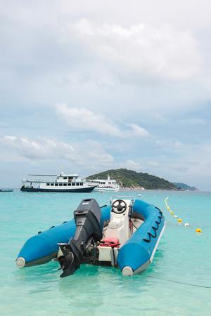 similan: Tourist boats on beatiful beach, Similan island, Thailand