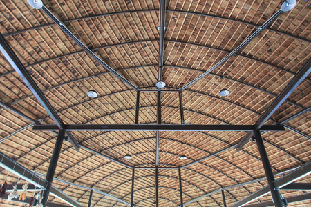 rafters: Roof structure composed of wooden and steel