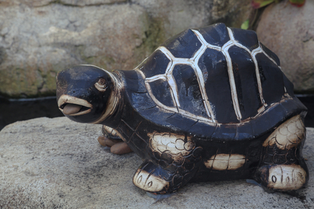 garden statuary: Outdoor turtle statue as an ornament in the garden. Stock Photo