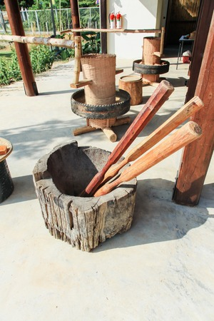 pestel: Ancient wooden mortar and pestel
