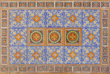 patchwork pattern: Seamless patchwork pattern from colorful tiles Stock Photo
