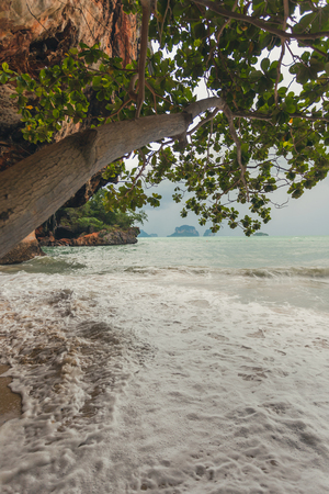 phra nang: Phra Nang beach in rainy day  in Krabi
