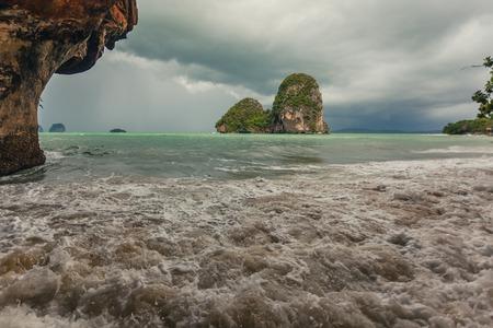 phra nang: Phra Nang beach in rainy day  in Krabi