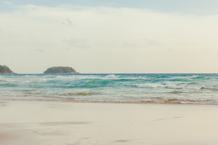 kata: Beautiful white sand beach, clear water, white sand and sea  Nature. at Kata, Karon beach  ,Phuket  Islands