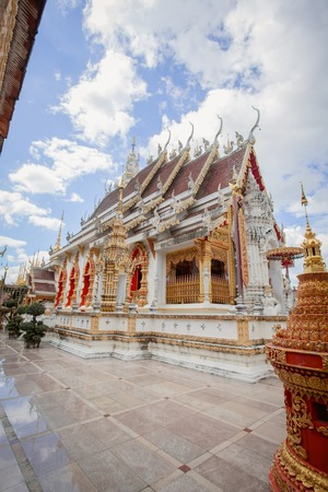 stone lion: Beautiful temple thailand Wat Phra That Suthon Mongkhon Khiri at Thailand Stock Photo