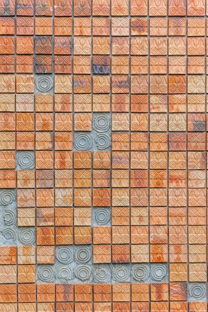 red brick wall: Red brick wall with texture for background Stock Photo