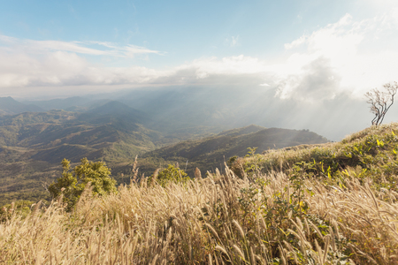 The beauty of the natural mountain sunset in Khao Kho, Thailand ,Phu Tub Berk