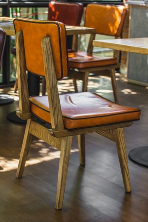 wooden chair: Wooden Chair furniture decoration  in the coffee shop Stock Photo