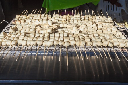 Grilled bananas on stove, dessert in Thailand Stock Photo
