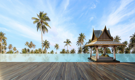 Beautiful Thai pavilion style in the swimming pool  at sunlight  - 3d rendering
