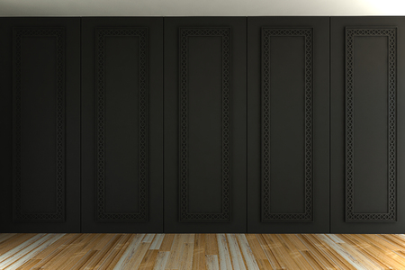 Interior of empty classic room gray panels wall- 3d rendering Stock Photo