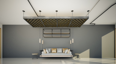 modern living room: Interior design of modern living room, sofa set  on gray wall background 3D rendering Stock Photo