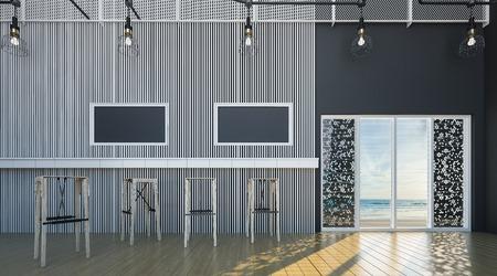 luxury living room: Beautiful Modern loft Interior of Empty room Wooden table - Wooden floor on gray wall background. 3D rendering