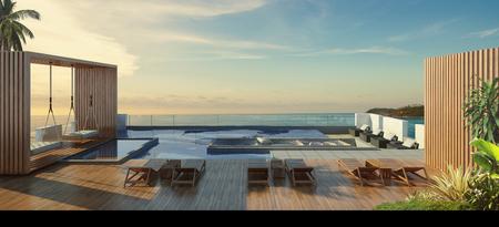 햇빛 -3d 렌더링에서 바다와 수영장의 아름 다운 경치 스톡 콘텐츠