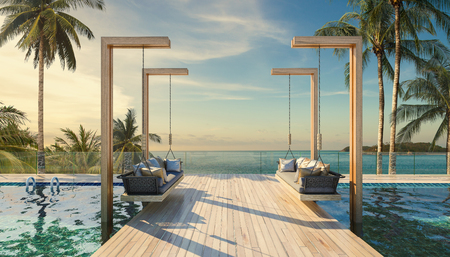 Beautiful Swing sofa on the Swimming pool waters outdoor tropical beach coastline with blue ocean sea horizon