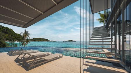 바다보기 수영장에서 현대 다락방 디자인, 럭셔리 오션 비치 하우스, 3d 렌더링