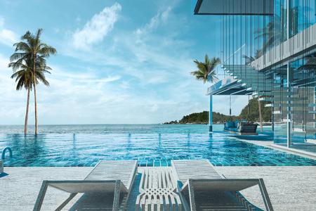 Bella vista di piscina con il mare alla luce del sole - rendering 3d Archivio Fotografico