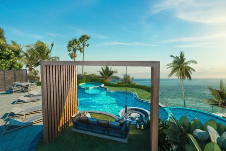 햇빛 -3d 렌더링에서 바다와 수영장에서 스윙 소파의 아름 다운 경치