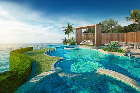 Beautiful view of Swing sofa on the Swimming Pool with  the sea at sunlight  - 3d rendering 스톡 콘텐츠