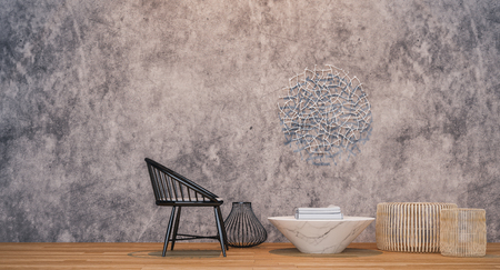 Beautiful Table and wooden chairs with steel set,Concrete wall bare background,wooden floor - 3d rendering Stock Photo
