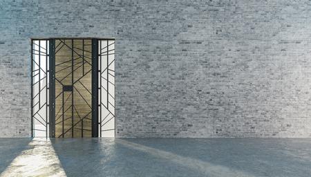 Wooden door with steel frame,Industrial style, 3d rendering
