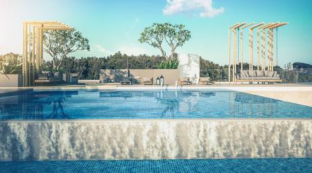 Beautiful view of Swimming Pool with  the sea at sunlight  - 3d rendering 版權商用圖片