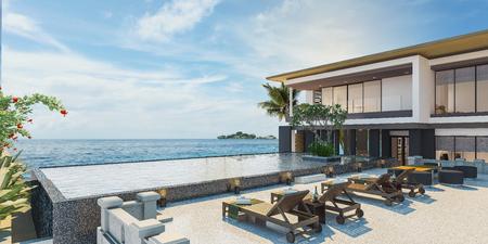 Sea view swimming pool in modern loft design,Luxury ocean Beach house, 3d rendering Foto de archivo