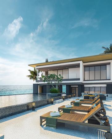 Vue sur la mer piscine au design moderne loft, océan de luxe maison de plage, rendu 3d Banque d'images - 85418970