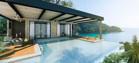 Sea View Andaman sea Beautiful Swimming pool with armchair and wooden floor  - 3d rendering 版權商用圖片