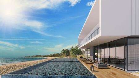 Schöner Meerblickpool im modernen Dachboden entwerfen, Luxusozean Strandhaus, Wiedergabe 3d Standard-Bild - 91302351